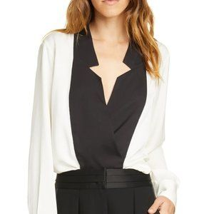 FRAME Black and White Long Sleeve 100% Silk Blouse